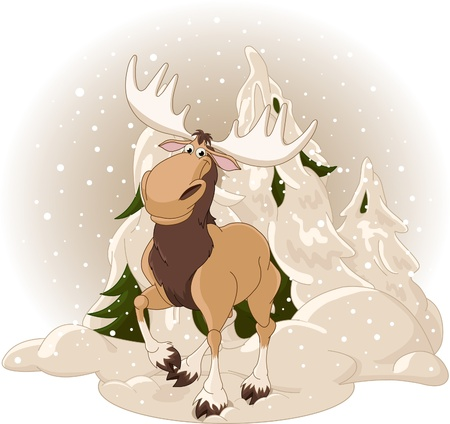 Right winter design with moose against a snowy forest background Ilustração