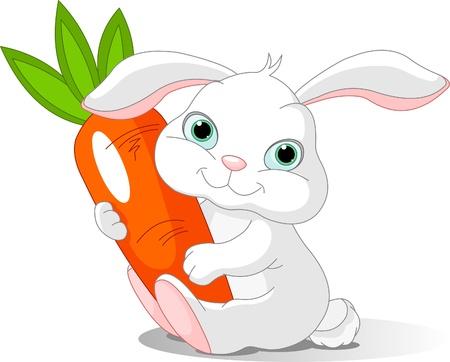 Petit lapin belle détient carotte géant