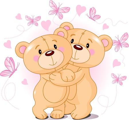 curare teneramente: Due orsacchiotti carino in amore Vettoriali