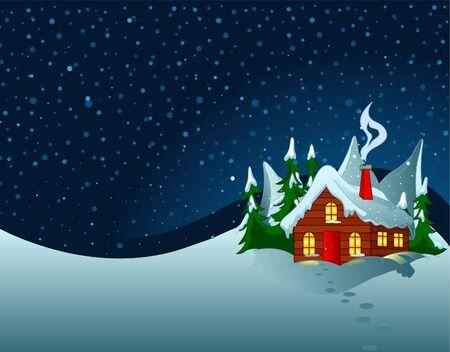 Kleines Haus in verschneiten Hügel. Pastorale Winterszene.