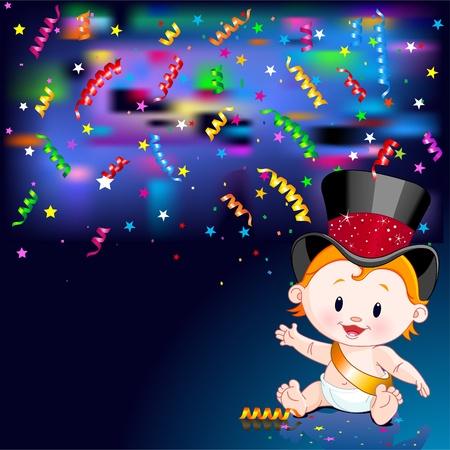 Celebrations! Illustration of New Year Baby and streaming party confetti Stock Vector - 8468978