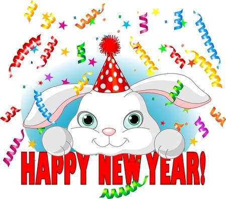 新しい年を祝うパーティー帽子と白の赤ちゃんはかわいいウサギ  イラスト・ベクター素材
