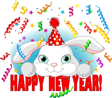 Cute white baby rabbit with party hat celebrating New Year
