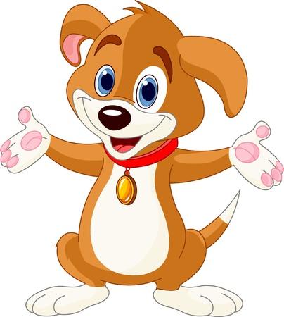 彼の手を上げるかわいい子犬のイラスト
