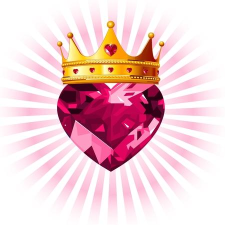 corona reina: Brillante cristal amor corazón con la princesa de corona de diseño Vectores