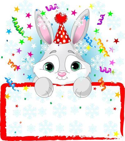空白星空サインを見ている、パーティーの帽子をかぶって新年の赤ちゃんウサギ