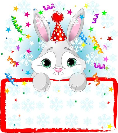 New Year Baby Bunny Wearing A Party Hat, Looking Over A Blank Starry Sign