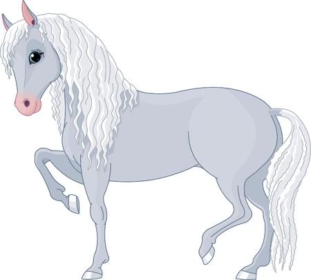 긴 갈기와 꼬리와 아름다운 말의 그림 일러스트