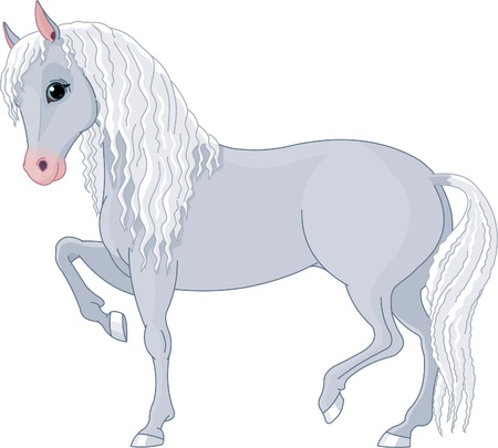 Illustration of beautiful horse with long mane and tail