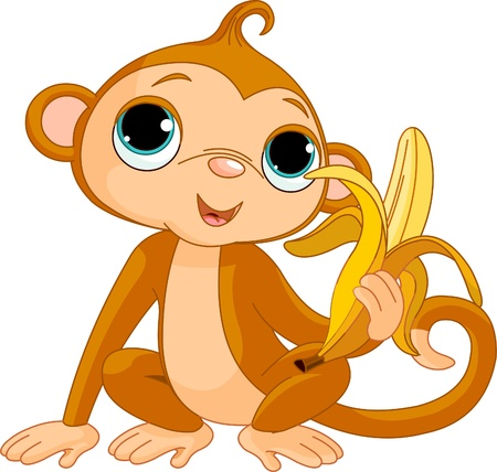Illustration of funny Monkey with banana Vector