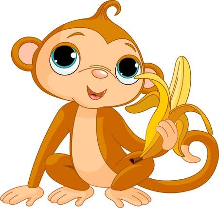 Ilustración de la divertida mono con plátano Foto de archivo - 8476345