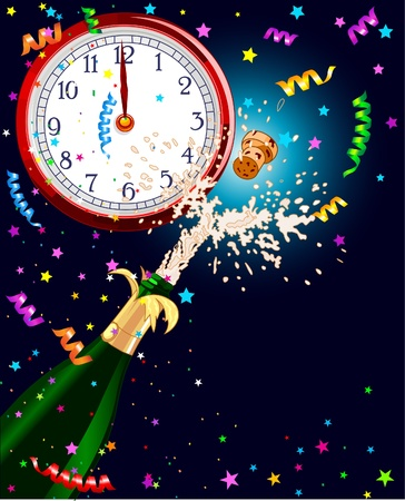 Celebration  background with Champagne and clock. Best for New Year�s Eve  Çizim