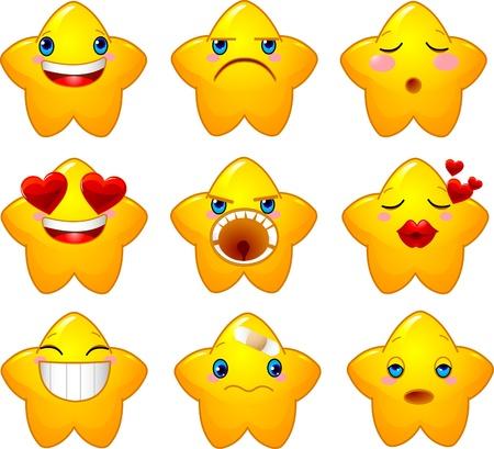 behaviours: Conjunto de caracteres de estrellas amarillas con diferentes caras, ojos, boca y pinceles  Vectores