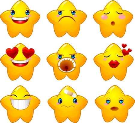 gladness: Set of characters of yellow stars with different faces, eyes, mouth and brushes