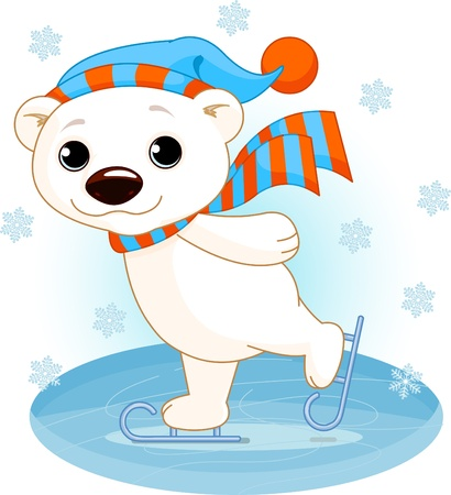 Illustration of cute polar bear on ice skates Çizim