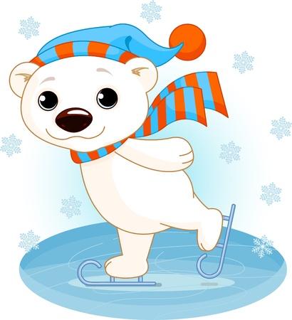 oso blanco: Ilustración de lindo oso polar en patines para hielo