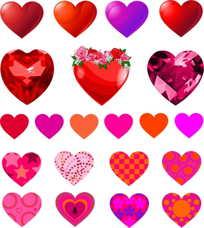 Fun set of different heart shapes.