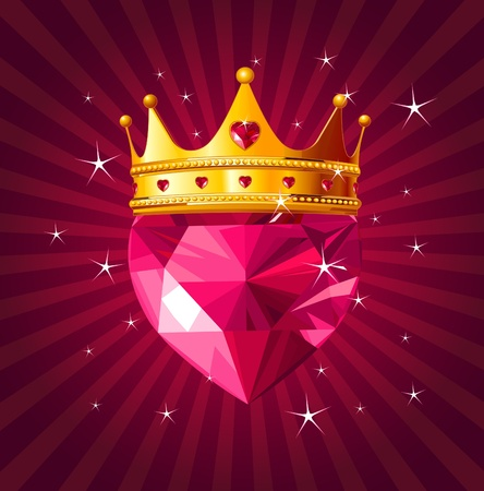 queen of diamonds: Shiny crystal love heart with princess crown  on radial background