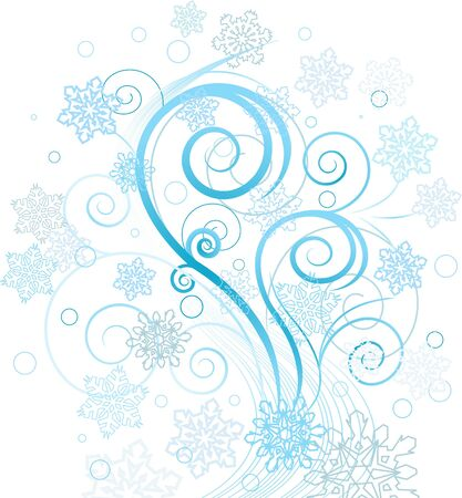swirling: Decorative swirling winter design with snowflakes Illustration