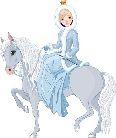 long tail:  Winter illustration Beautiful princess with riding horse Illustration