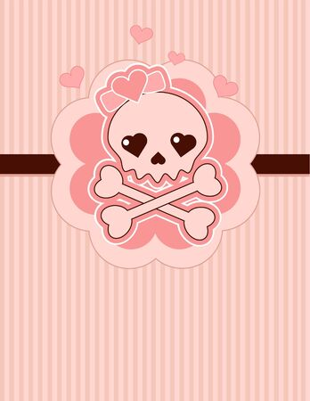 Very cute Love Skull place card with place for copytext Vector