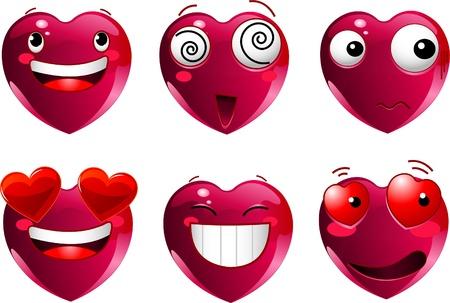 smiles: Ensemble de c?ur forme �motic�nes avec diff�rents visages, les yeux, la bouche et brosses