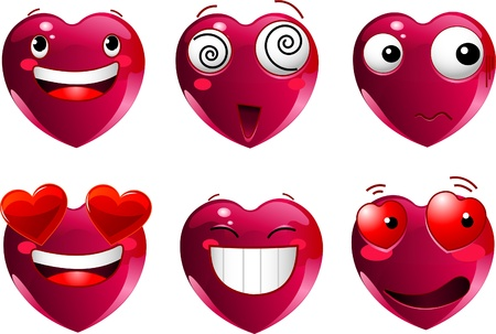 Set of heart shape emoticons with different faces, eyes, mouth and brushes