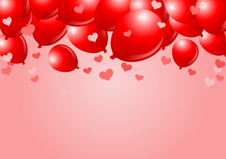 Falling Red Balloons on Pink Background with place for copytext