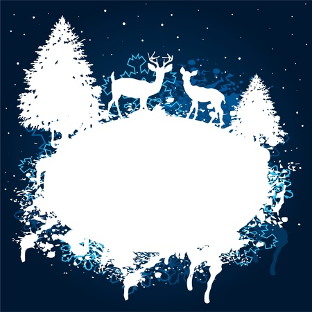 Blue and white winter forest grunge paint design