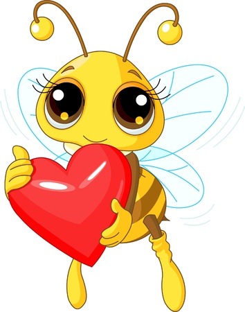 printable: Illustration of a Cute Bee holding Love heart Illustration