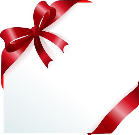 envelope decoration: P�gina de esquina con cinta roja y arco. Lugar para copiartexto. Vectores