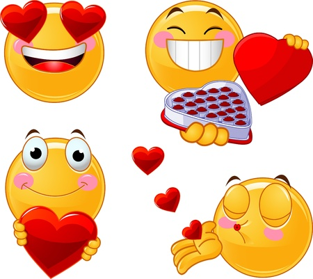 kisses: Set of characters of yellow emoticons with different faces, eyes, mouth for Valentine Day