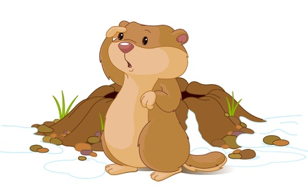 spring: Illustration for Groundhog Day. Groundhog looking at his shadow.   Illustration