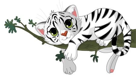 Cute white Tiger ist auf einem Zweig Illustration