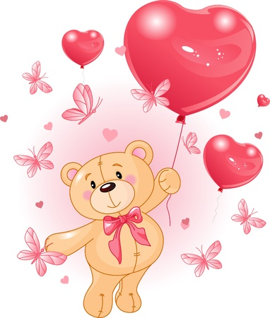 Valentine�s Teddy Bear Hanging from a heart shape Balloons