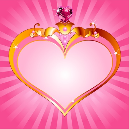 queen s: Love princess pink frame. Perfect for beautiful girls Illustration