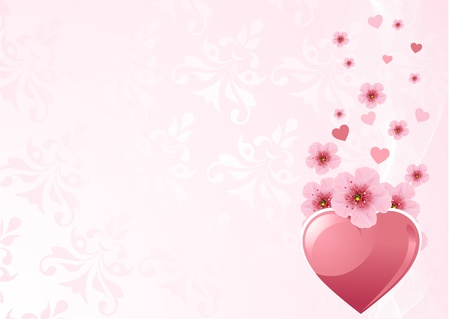 marital: Love heart and pink cherry blossom design