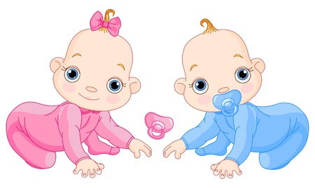 baby romper: Illustration of creeping baby twins. You can easily add or remove the pacifier to each of them
