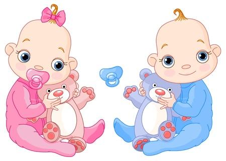 Illustration des Cute Zwillinge mit Spielzeug. Sie können problemlos hinzufügen oder entfernen den Schnuller zu jedem von Ihnen