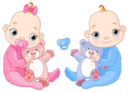 Illustration of Cute twins with toys. You can easily add or remove the pacifier to each of them