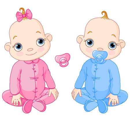 Illustration of Cute sitting twins. You can easily add or remove the pacifier to each of them
