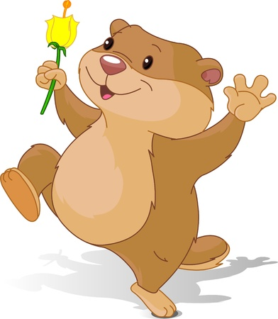 gopher: Illustration of Groundhog dancing with first flower for Groundhog Day Illustration