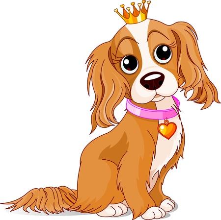 perro caricatura: Cavalier King Charles Spaniel con corona