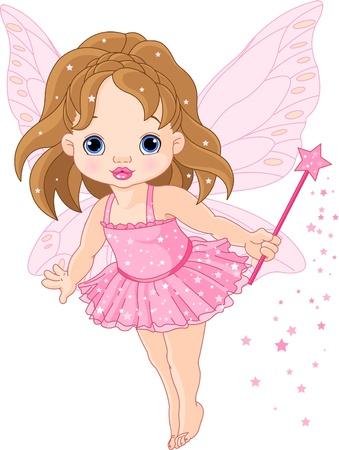 princesa: Ilustraci�n de hada de beb� poco lindo en mosca Vectores