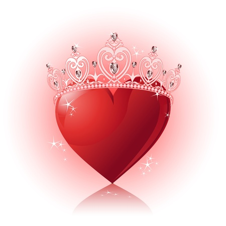 queen of diamonds: Shiny crystal love heart with princess crown  design Illustration
