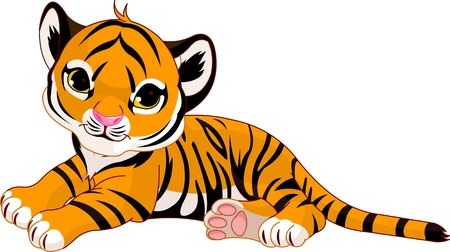 Image of  little tiger cub resting Vector