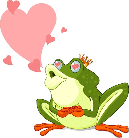 Clip Art of a Frog Prince waiting to be kissed Stock Vector - 8623512