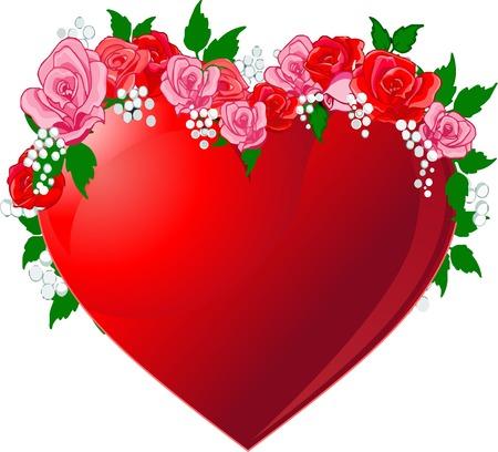 ardor: Ilustraci�n de coraz�n rojo flanqueado por rosas  Vectores