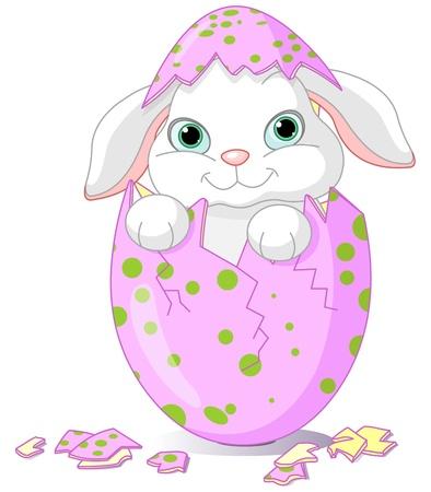 Cute Baby Osterhasen, die aus einem Ei geschlüpft sind Standard-Bild - 8623510