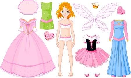 Paper Doll with different princess dresses Vector